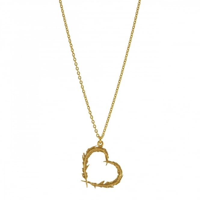 Alex Monroe 22ct Gold Plated Delicate Feather Heart Necklace