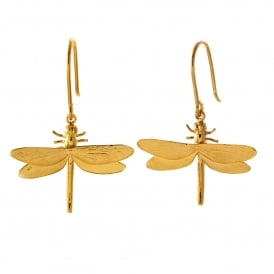 22ct Gold Plated Dragonfly Hook Earrings