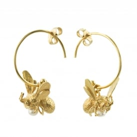 22ct Gold Plated Flying Bee Hoop Earrings