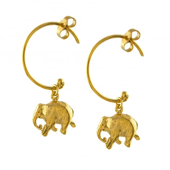 Alex Monroe 22ct Gold Plated Indian Elephant Hoop Earrings
