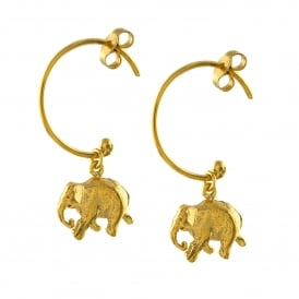 22ct Gold Plated Indian Elephant Hoop Earrings