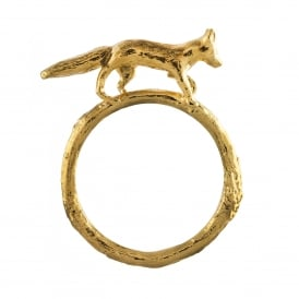 22ct Gold Plated Prowling Fox Ring