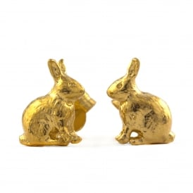 22ct Gold Plated Sitting Bunny Stud Earrings