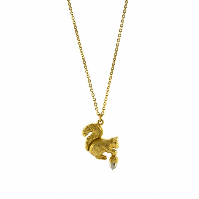 Alex Monroe 22ct Gold Plated Squirrel & Acorn Necklace
