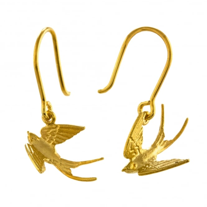 Alex Monroe 22ct Gold Plated Swooping Swallow Hook Earrings