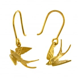 22ct Gold Plated Swooping Swallow Hook Earrings