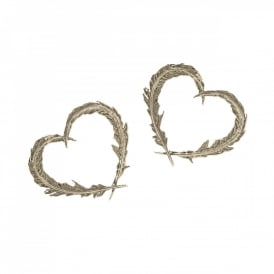22ct Plate Delicate Feather Heart Earrings