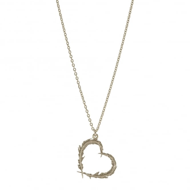 Alex Monroe 22ct Silver Plated Delicate Feather Heart Necklace