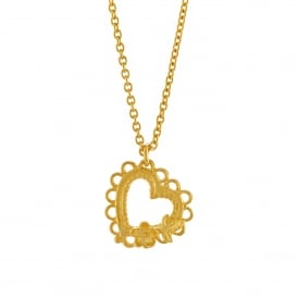 Laced Floral Heart Necklace