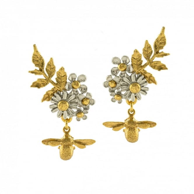 Alex Monroe Posy Cluster Earrings with Bee