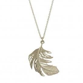 Silver Big Feather Necklace