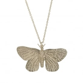 Silver Duke of Burgundy Butterfly Necklace