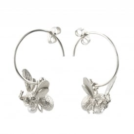 Silver Flying Bee Hoop Earrings