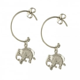 Silver Indian Elephant Hoop Earrings