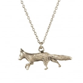 Silver Prowling Fox Necklace