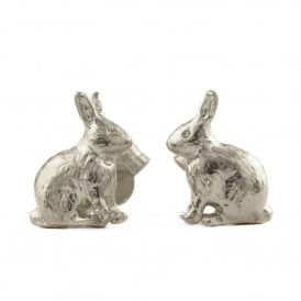 Silver Sitting Bunny Stud Earrings