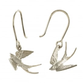 Silver Swooping Swallow Hook Earrings