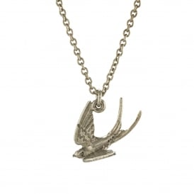 Silver Swooping Swallow Necklace