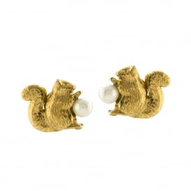 Squirrel & Pearl Stud Earrings