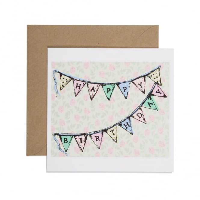 Apple and Clover Happy Birthday Floral Bunting Card
