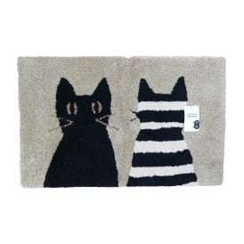 With Stripy Bath Mat