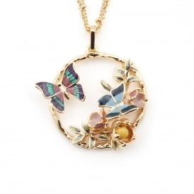 Butterfly Floral Disc Pendant