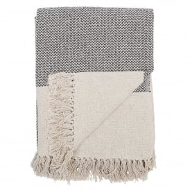 Grey and Cream Cotton Throw