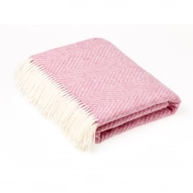 Pure New Wool Herringbone Bright Pink Throw