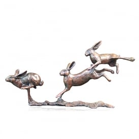Limited Edition Small Hares Running Bronze