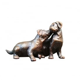 Limited Edition Small Labrador Puppy Pair Bronze