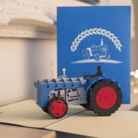 Blue Vintage Tractor Pop Up Card