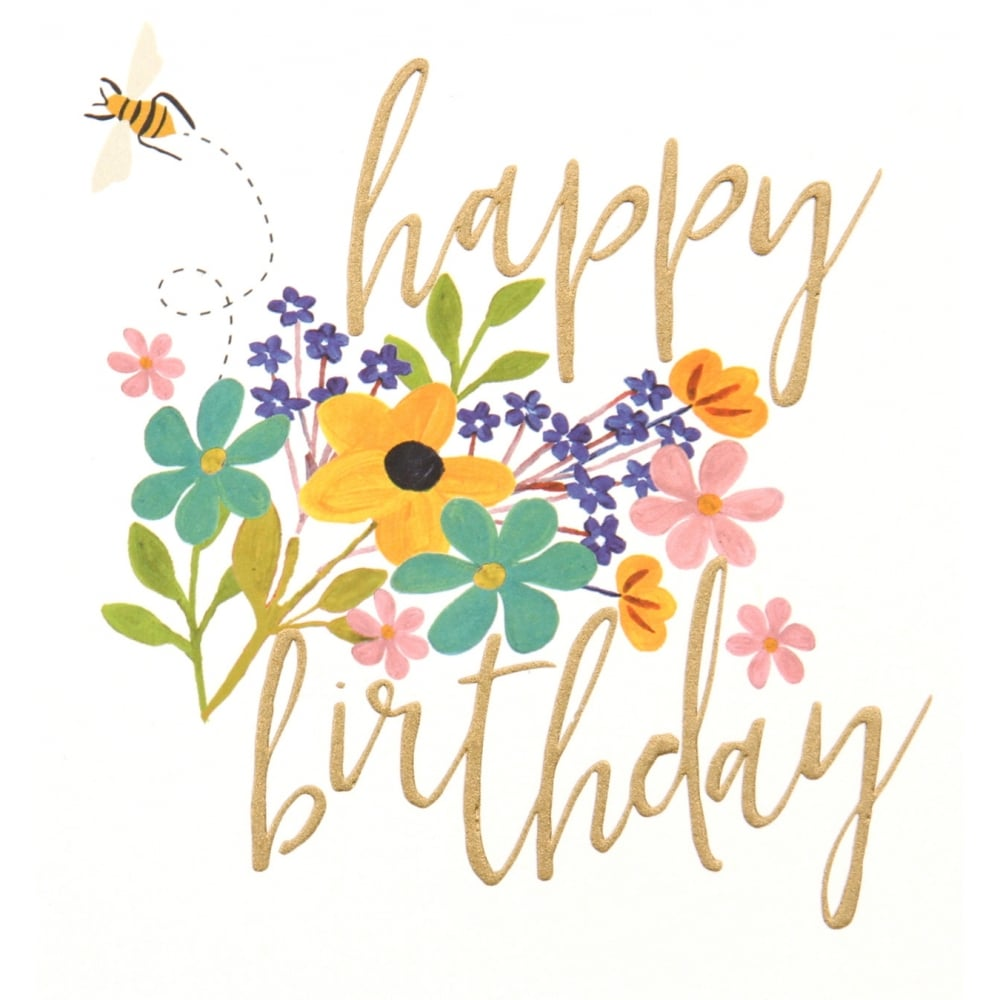 Happy Birthday Flower Bee Card
