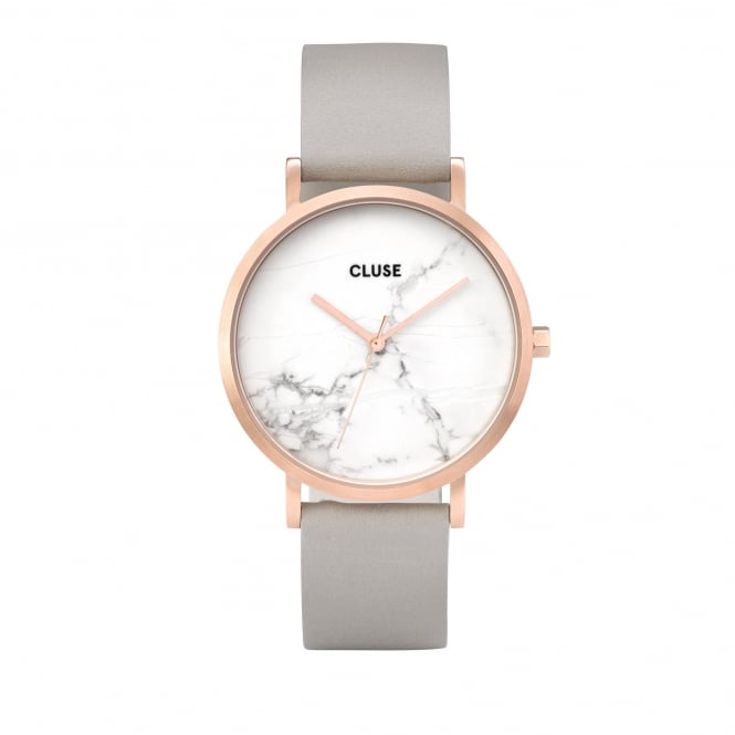 Cluse La Roche Rose Gold White Marble/Grey Watch