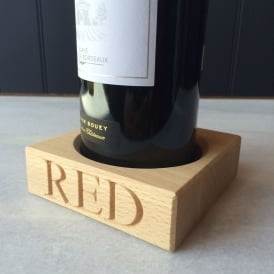 'Red' Beech Wood Single Bottle Stand