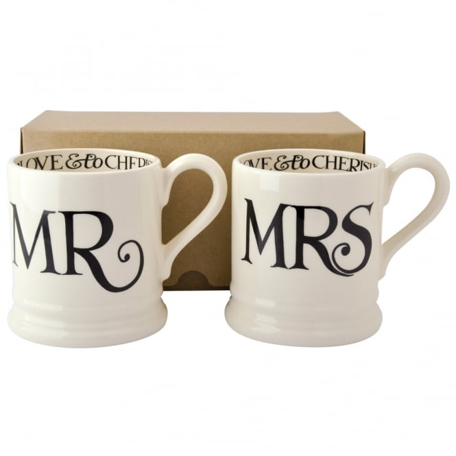 Emma Bridgewater Black Toast Mr & Mrs Half Pint Mug Set