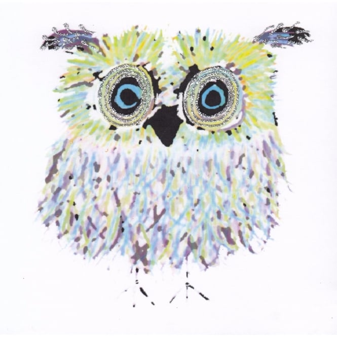 English Graphics Blue & Green Owl Glitter Card - White