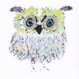 Blue & Green Owl Glitter Card - White