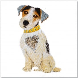 Jack Russell Puppy Glitter Card - White