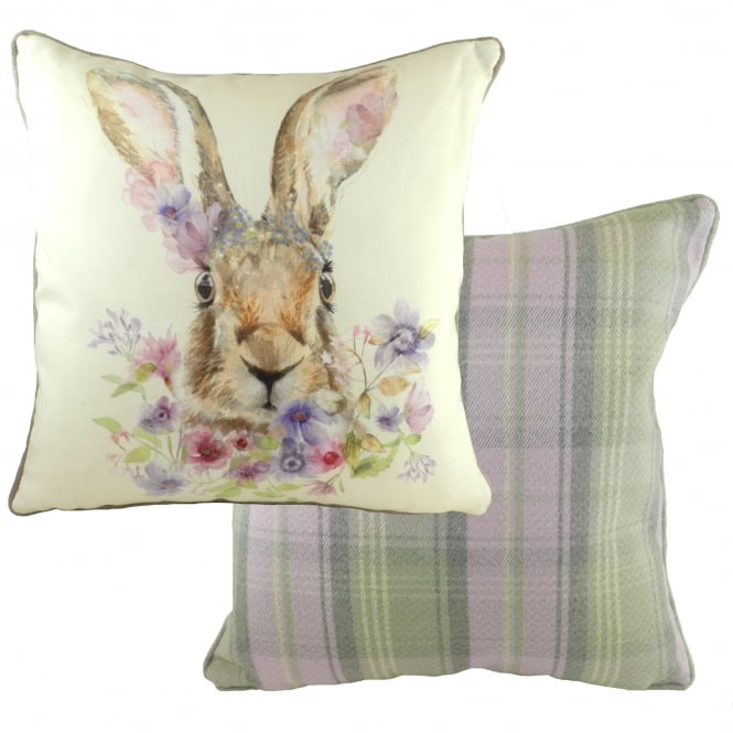 Evans Lichfield Country Floral Animals Piped Hare Cushion