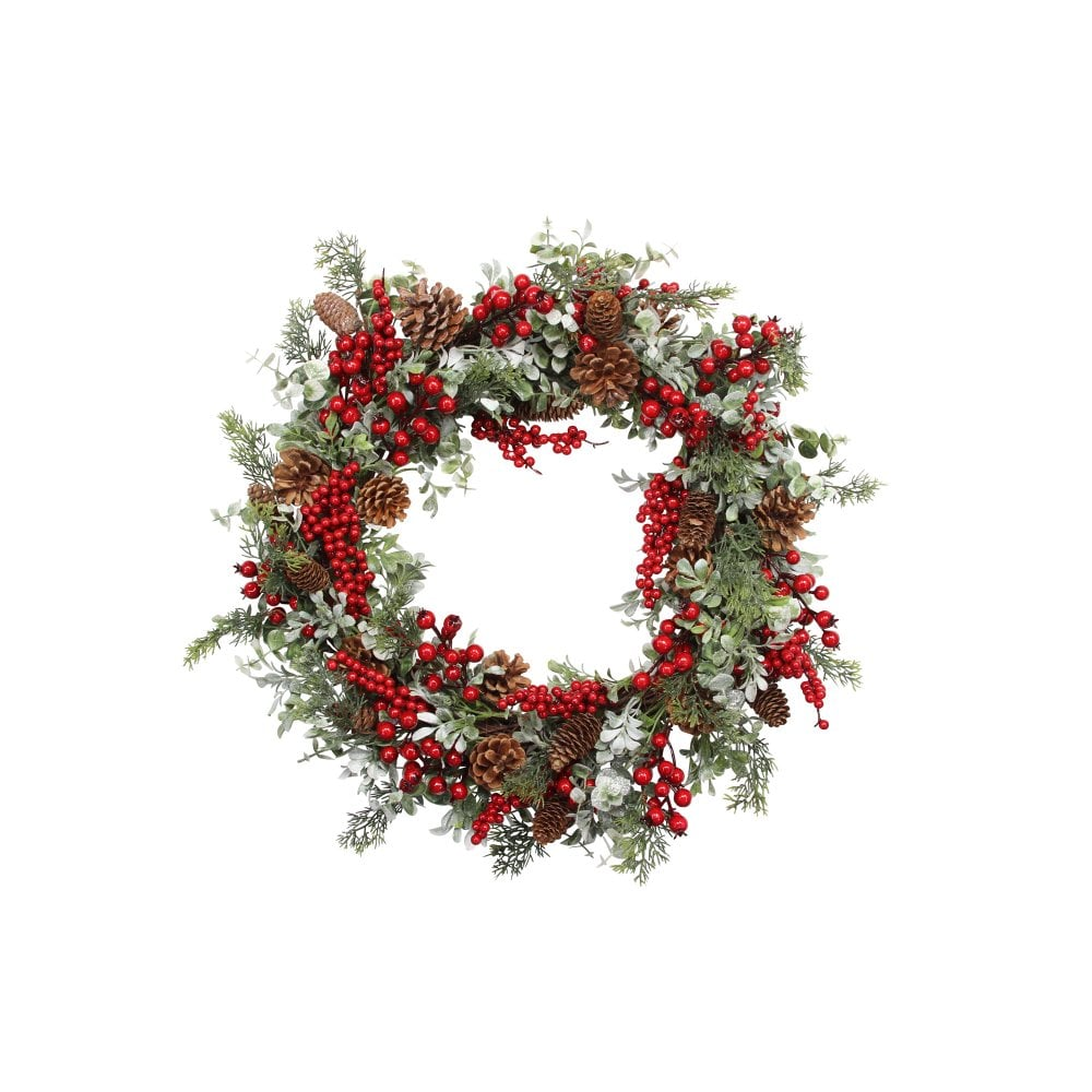 Gisela Graham Fir Cone and Mixed Berries Christmas Wreath