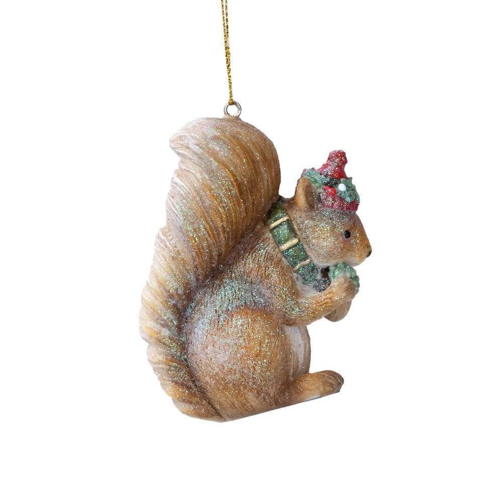 Christmas Squirrel.Squirrel With Hat And Scarf Christmas Decoration