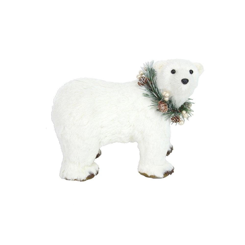 White Bristle Polar Bear Christmas Decoration