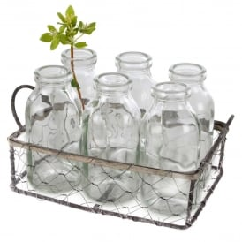 Wire Basket and Six Mini Bottles Set