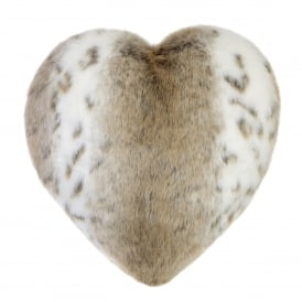 Lynx Faux Fur Boudoir Heart Cushion