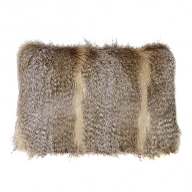Helen Moore Siberian Wolf Faux Fur Rectangular Cushion