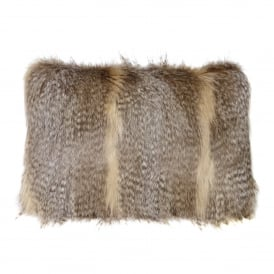 Siberian Wolf Faux Fur Rectangular Cushion