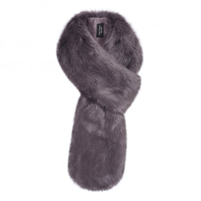 Helen Moore Steel Grey Faux Fur Loop Scarf