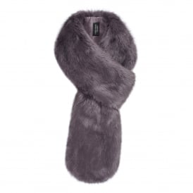 Steel Grey Faux Fur Loop Scarf