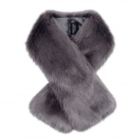 Steel Grey Faux Fur Tippet Scarf