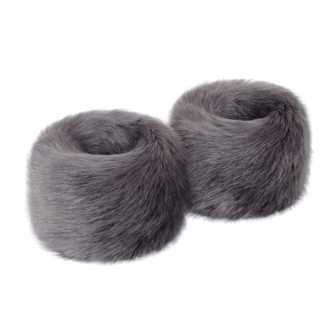 Helen Moore Steel Grey Faux Fur Wristwarmers